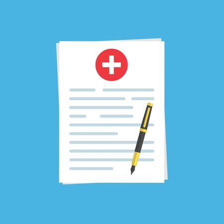 Krankenversicherungsdokument oder Vertrag und Kugelschreiber. Medizinische report.stock-Vektor-Illustration auf blauem Hintergrund isoliert.