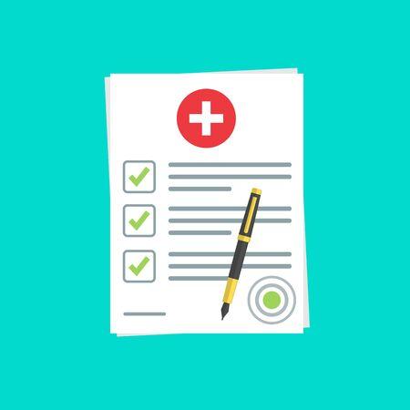 documento di assicurazione medica o contratto e penna a sfera. Referto medico. stock vector illustration.10 eps. Vettoriali
