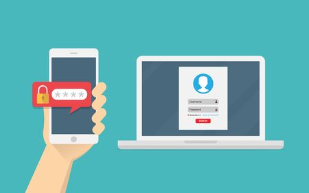 Two step authentication vector illustration, smartphone and computer safety login or signin, two steps verification via mobile phone and laptop.