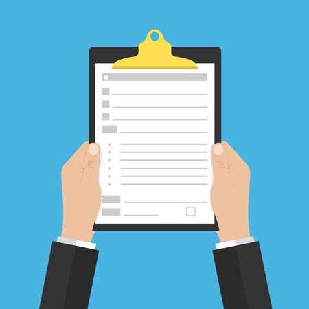 Filling insurance coverage, paperwork, income tax. Clipboard with document in hand. writing a report. Modern flat design. Vecteurs