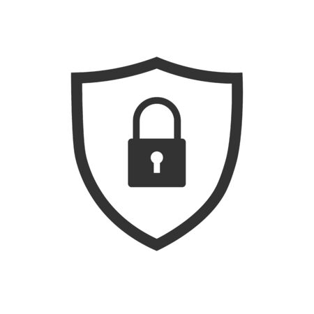 Security, protection. Shield with padlock.Flat icon.Vector illustration isolated on white background.