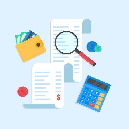 Quittung oder Papierscheck. Lupe und Geldbörse, Taschenrechner. Konzepte für Steuern, Finanzen, Buchhaltung, Wirtschaft, Buchhaltung.