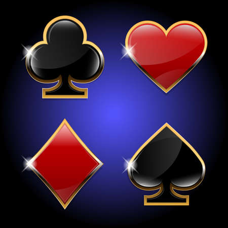 Vector illustration.Hearts, Diamonds, Clubs, Spades.Casino suits with golden elements.