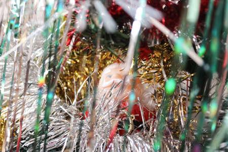 the tinsel: Santa Claus among tinsel