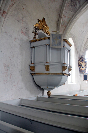 Set of hourglasses on the pulpit in the Angso Church on the island of Angso in lake Malaren, Sweden Sajtókép