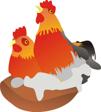 Cock and hen Stock Vector - 8212844