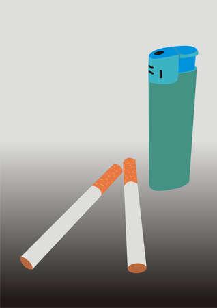 cigaret: Cigarets and a lighter Illustration