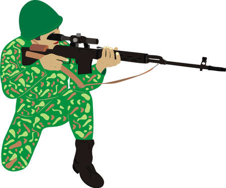 The soldier with a rifle Illustration