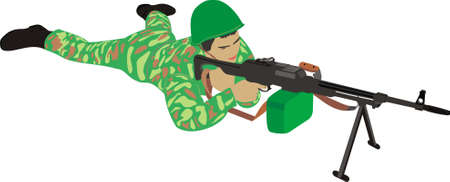 The soldier with a machine gun Vector