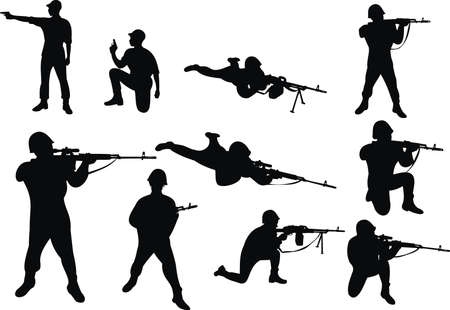 soldier with rifle: People with the weapon
