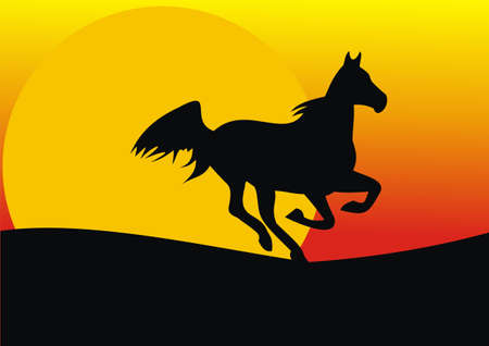 harmonous: A horse on a sunset