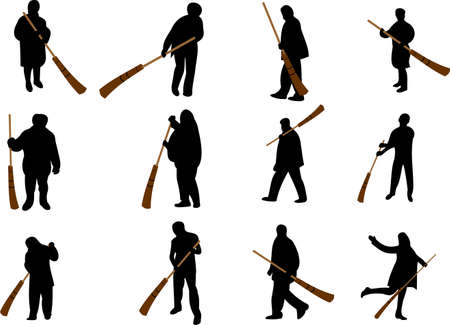 sweeper: The cleaner with a sweeper Illustration