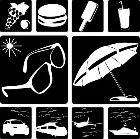 tubule: Collection of symbols of travel Illustration