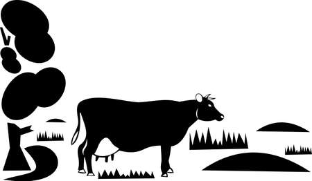 Cow on a pasture Illustration