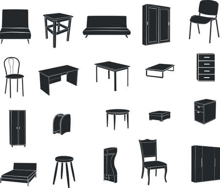 Furniture isolated on a white background Illustration