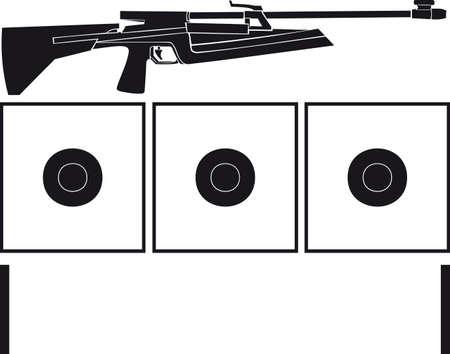 Rifle and targets for biathlon Illustration