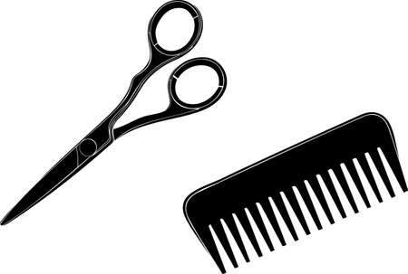 hairdress: Scissors and hairbrush