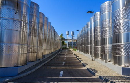 winegrowing: Wine barrels in the open air for the fermentation of wine