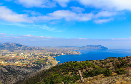 Sudak city view from above Mount Sokol