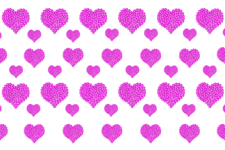 Random patterns of hearts on a white background