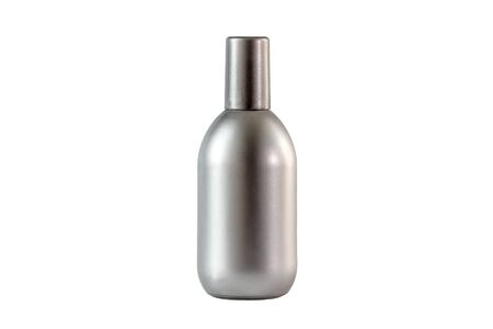 Perfume bottle isolated on white background. Man perfume glass bottle metallic - silver color isolated on a white background Reklamní fotografie