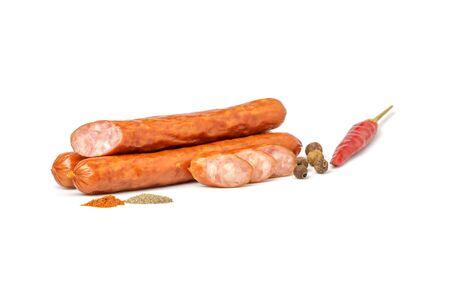 Sausages with spices on a white background Standard-Bild - 136483400