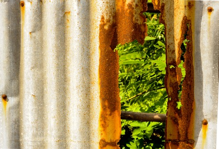russet: Old rusty of zinc sheet  fence is grunge  background.