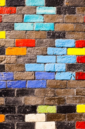 Colorful bricks decorate on the beautiful wall.