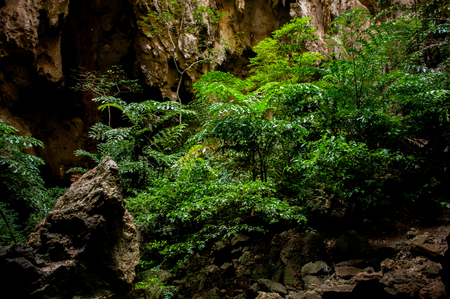Beautiful stone Cave with above light in Thailand. Stock Photo
