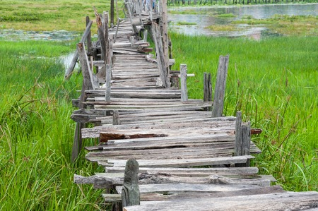 pitfall: Old wooden  long  bridge cross the lake.