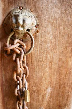 chain dragon door  Stock Photo