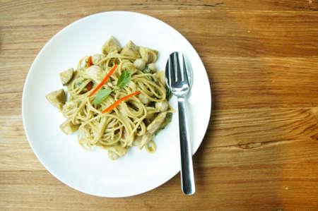 green curry spaghetti Stock Photo