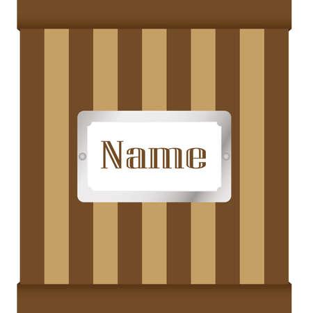 tag name on retro box  Illustration