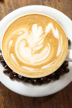 closeup latte art, white coffe cup Stock Photo