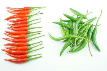 Many of red and green chili pepper Stock Photo
