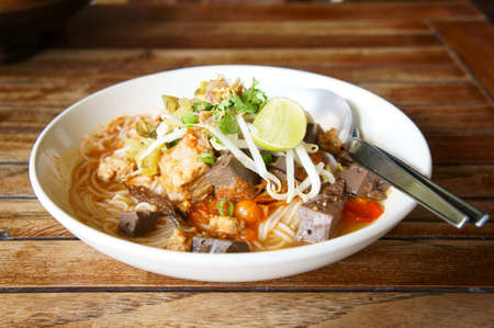 Thai rice noodle on wood table
