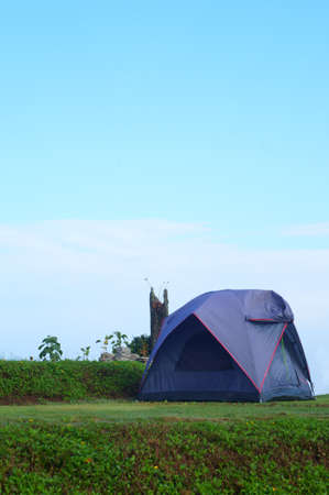 Blue family tent in camping on mountain northern Chiang Mai ,Thailand                          Stock Photo