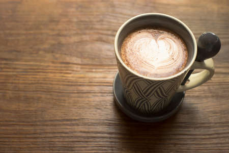 Hot Chocolate on wood table Stock Photo