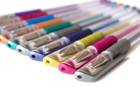 Multicolored line of helium pens  metallic colour