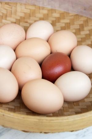 A small basket of farm eggs Stock Photo