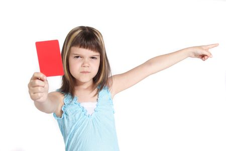 admonish: A young girl books someone. All isolated on white background.