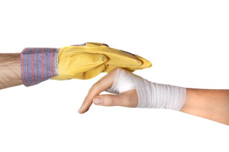 protects: One hand in glove protects a bandaged hand. All isolated on white background.