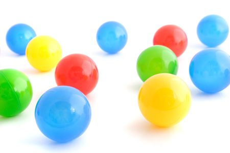 brash: Several colored balls. All isolated on white background. ** Note: Shallow depth of field.