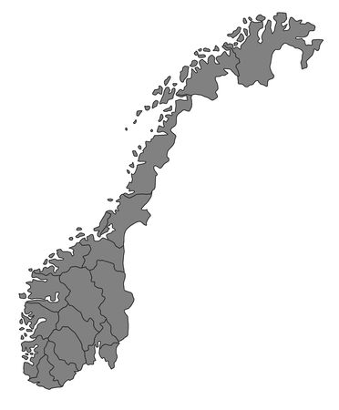 plotting: A stylized map of Norway showing the different provinces. All isolated on white background.