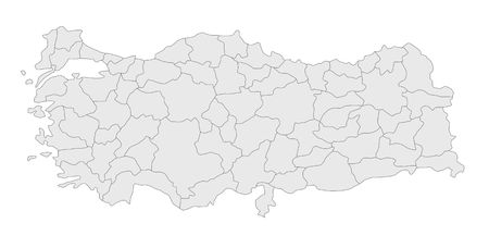the plotting: A stylized map of turkey showing the different provinces. All isolated on white background.