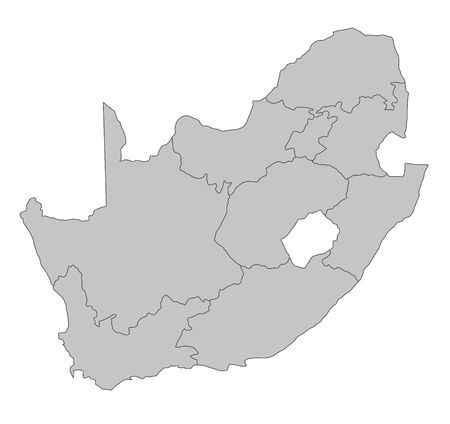sur: Un mapa estilizado de Sudáfrica mostrando las diferentes provincias. Todos aislados sobre fondo blanco.