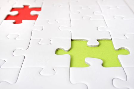 conceptions: A jigsaw puzzle with a red and green gap.