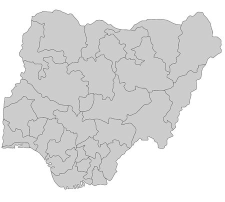 A stylized map of Nigeria showing the different provinces. All isolated on white background. photo