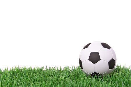 soccer field: A soccer ball lying on a fine green meadow Stock Photo