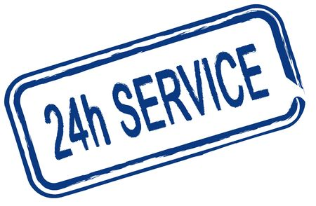 24 hour: An illustrated stamp offers a 24 hour service. All isolated on white background.